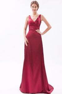 Wine Red Brush Train V-Neck Straps Column Party Dress for Homecoming