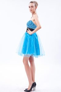 Mini-Length Strapless Beaded Blue Homecoming Dance Dress with Black Belt