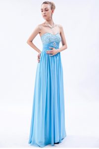 Blue Sweetheart Floor-Length Beaded Pleated Homecoming Dress for Junior