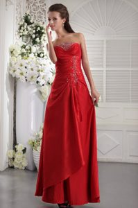 Red Ankle-Length Strapless Beaded Ruched Homecoming Dress with Lace-up Back
