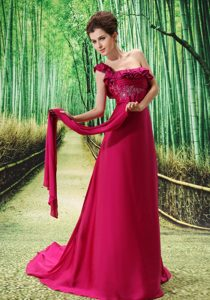 Fuchsia One-Shoulder Brush Train Appliqued Flounced Homecoming Dress