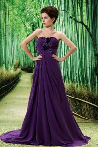 Dark Purple Brush Train Ruched and Appliqued Homecoming Dress with Flowers