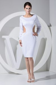 Knee-Length Scoop Long-Sleeves Sheath White Homecoming Dress with Cutouts