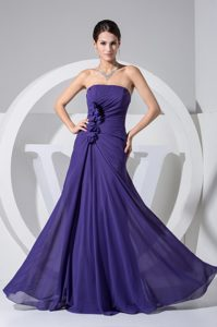 Purple Strapless Floor-Length Ruched Homecoming Queen Dress with Flowers