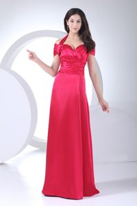 Halter Short Sleeves Floor-Length Homecoming Dress for Juniors with Ruching