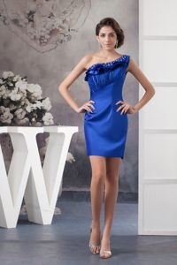 One-Shoulder Blue Mini-Length Beaded Ruched Homecoming Cocktail Dress