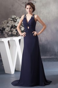 Navy Blue Brush Train Homecoming Dress with Cutout and Criss Cross Back