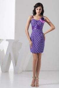 Lavender Mini-length Party Dress For Homecoming with Polka Dot in USA