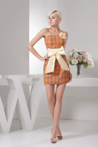 Orange Mini-length Plaid Fabric with Bowknot Homecoming Dresses