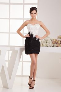 Sweetheart White and Black Mini Ruche Tight Homecoming Dresses
