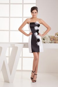 Black and White Handmade Flower Evening Homecoming Dress in Kansas