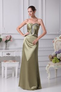 Sweetheart Ruching Floor-length Homecoming Court Dress with Beads