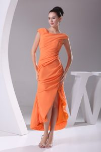 Orange Cap Sleeves Scoop Tea-length Slit Homecoming Dresses in UK