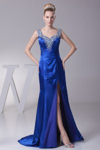 Beading Wide Straps Sweep Train High Slit Homecoming Dress in Ohio