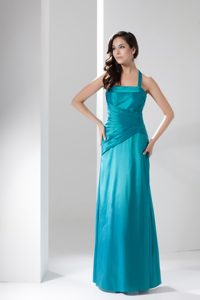 Turquoise Halter Top Column Ankle-length Homecoming Dance Dresses