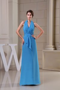 Halter Top Ankle-length Blue Evening Homecoming Dress with Ruche