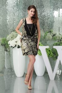 Column Sequin Black Mini-length Square Homecoming Cocktail Dresses