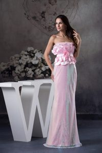 Strapless Long Column Hand Made Flowers Homecoming Dresses in Fl
