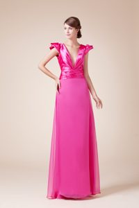 V-neck Sheath Long Party Dress With Cap Sleeves For Homecoming