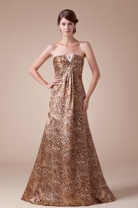 Strapless Empire Beading Leopard Print Homecoming Queen Dresses