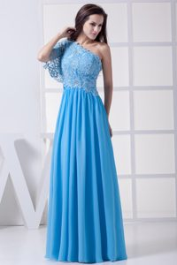 Baby Blue Lace One Shoulder Floor-length Homecoming Dress in CA