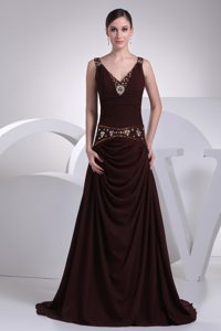 A-line Brown Beading V-neck Homecoming Princess Dresses in NY USA