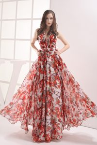 Empire Halter Ruching Special Print Homecoming Dresses For Prom