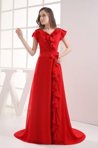Red Short Sleeves Bow V-neck Ruffles Homecoming Dress in OR USA