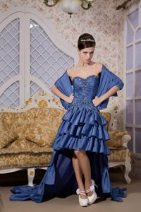 Royal Blue A-line Sweetheart High-low Plus Size Homecoming Dresses