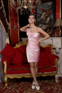Baby Pink Column One Shoulder Bowknot Homecoming Dresses On Sale