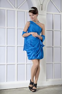 Blue Column One Shoulder Mini-length Short Homecoming Dress in OH