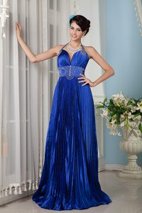 Blue Halter Brush Train Party Dress For Homecoming in Australia