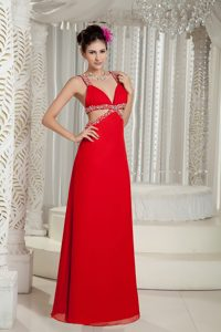 Red Empire Straps Chiffon Beading Homecoming Dresses with Cutouts