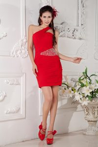 Red One Shoulder Beading Mini-length Homecoming Dance Dresses