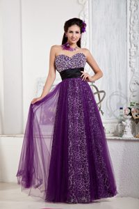 Purple Empire Leopard Beading Bow Homecoming Cocktail Dresses