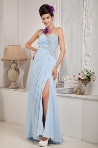 Light Blue Empire One Shoulder Junior Homecoming Dresses in Maine