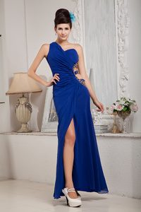 Royal Blue Empire Ankle-length One Shoulder Homecoming Dress in NY