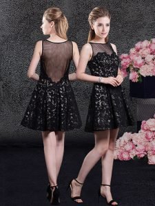 Clearance Mini Length Black Hoco Dress Lace Sleeveless Lace