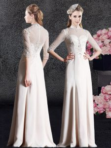 Floor Length Champagne Homecoming Dress Satin Half Sleeves Lace