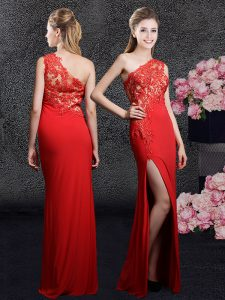 Designer Red Column/Sheath One Shoulder Sleeveless Chiffon Floor Length Side Zipper Lace and Appliques Homecoming Party Dress