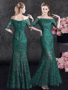 Hot Sale Dark Green Mermaid Scalloped Half Sleeves Lace Floor Length Lace Up Lace Junior Homecoming Dress