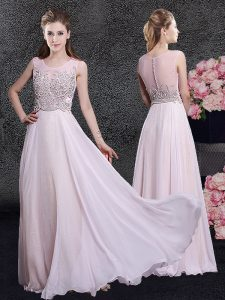 Scoop Sleeveless Zipper Floor Length Beading Homecoming Gowns