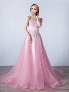 Charming Pink A-line Appliques Lace Up Tulle Sleeveless With Train