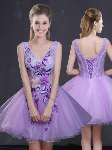 Lavender A-line Lace and Appliques Homecoming Gowns Lace Up Organza Sleeveless Mini Length