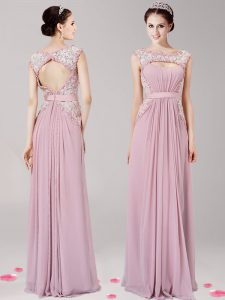 Scoop Appliques Pink Zipper Sleeveless Floor Length