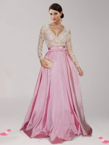 Edgy Pink And White Empire Beading and Belt Homecoming Party Dress Zipper Taffeta Long Sleeves Floor Length