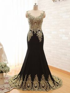 Fantastic Scoop Sleeveless With Train Beading and Appliques Side Zipper Prom Homecoming Dress with Black Brush Train