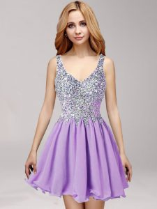 Amazing Mini Length Lavender Homecoming Dress Online Straps Sleeveless Side Zipper
