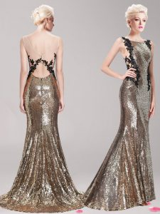 Mermaid Square Clasp Handle With Train Brown Homecoming Party Dress Sequined Brush Train Sleeveless Appliques and Sequins