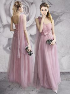 One Shoulder Lavender Sleeveless Floor Length Ruching and Bowknot and Hand Made Flower Lace Up Homecoming Dress Online